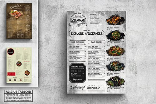 Poster Food Menu Bundle - A3 & US Tabloid