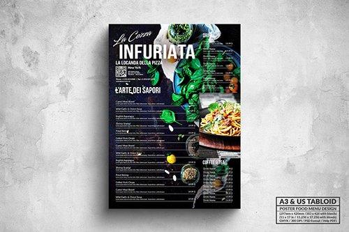 Elegant Dark Poster Food Menu - A3 & US Tabloid