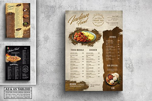 Vintage Poster Food Menu Bundle - A3 & US Tabloid