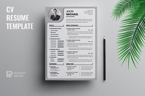 Minimalist CV Resume R33 Template