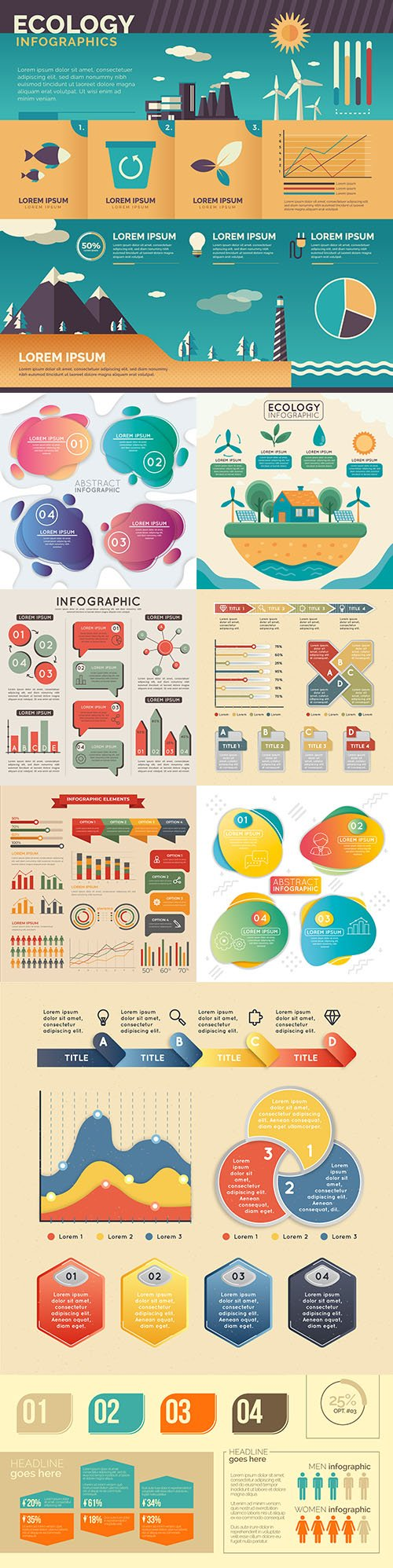 Business infographics options elements collection 129