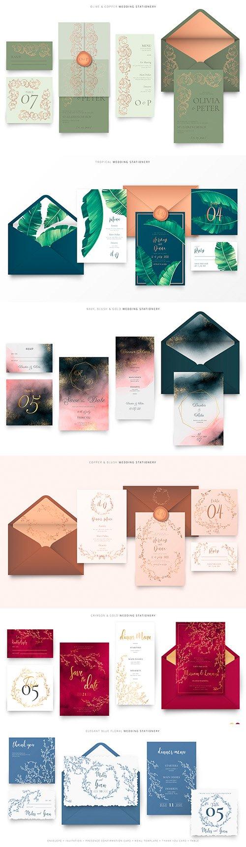 Elegant wedding stationery with decorative elements