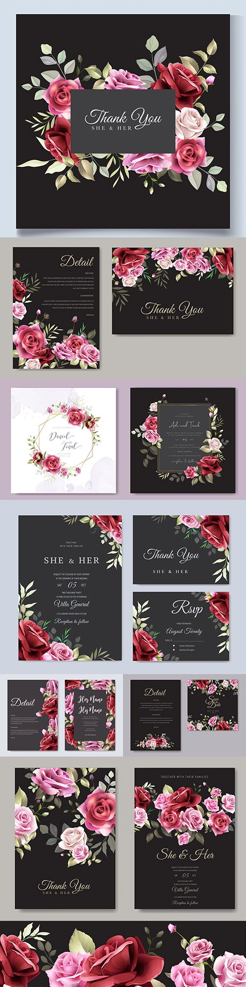 Wedding invitations floral elegant decorative template 7