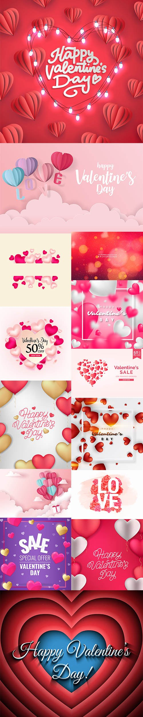 Set of Romantic Valentines Day Illustrations Vol 2