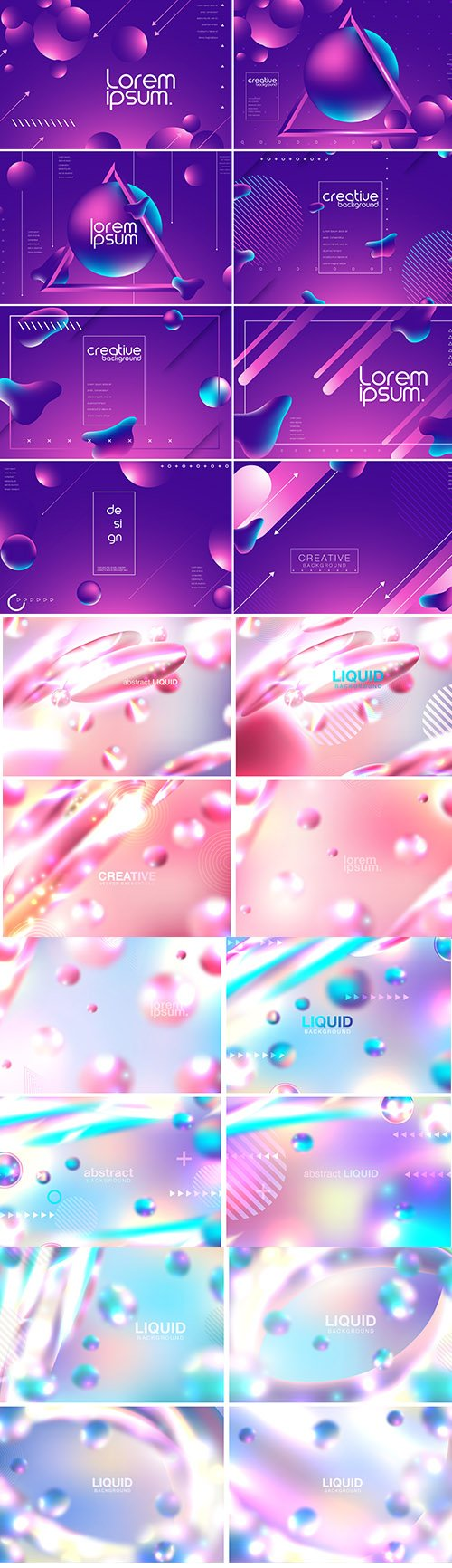 Abstract Vector Set of Background with Liquid Bubbles
