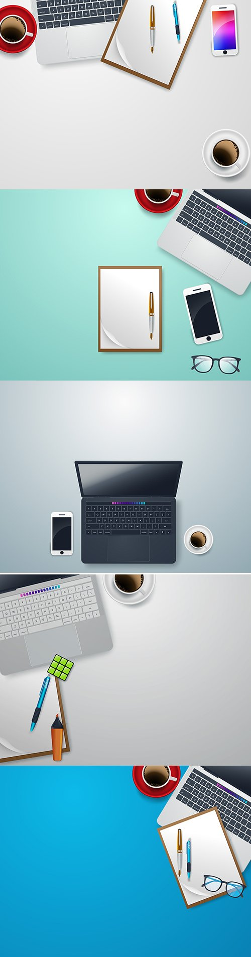 Vector Set of Desk with Notebook Accessories Illustrations