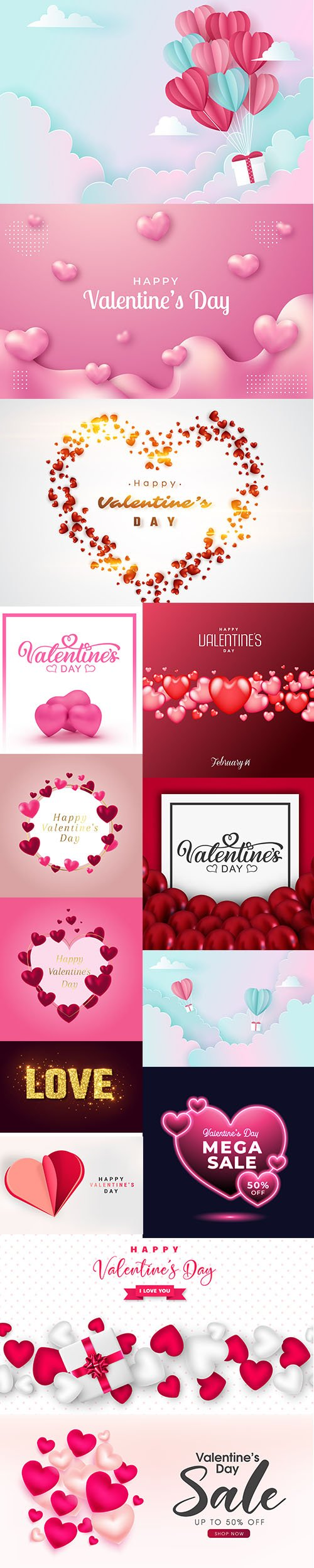 Set of Romantic Valentines Day Illustrations