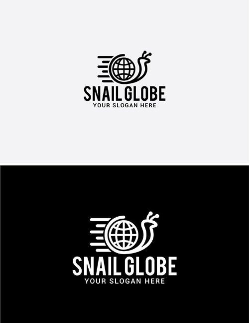Snail Globe Logo Template