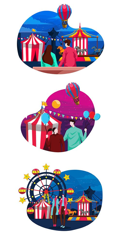 Carnaval Flat Illustration Set