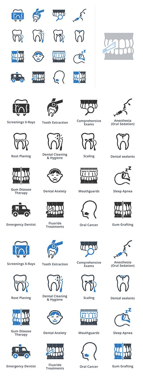 General & Preventive Dentistry Icons - Blue Series