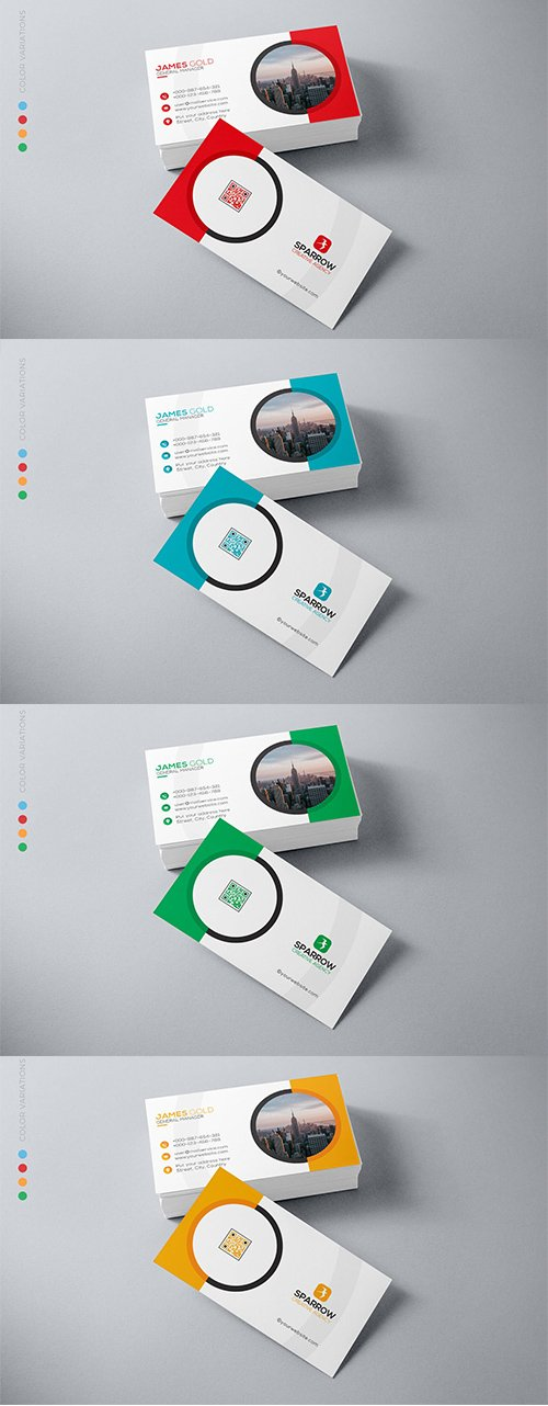 Business Card 4 Colors Template
