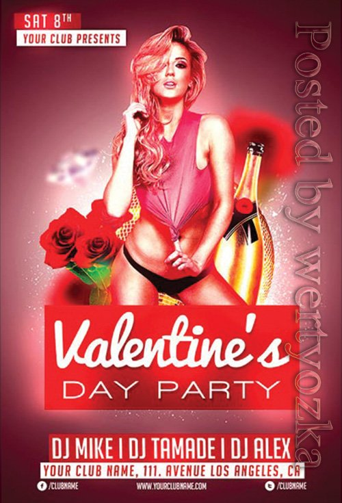 Valentines Day Club - Premium flyer psd template
