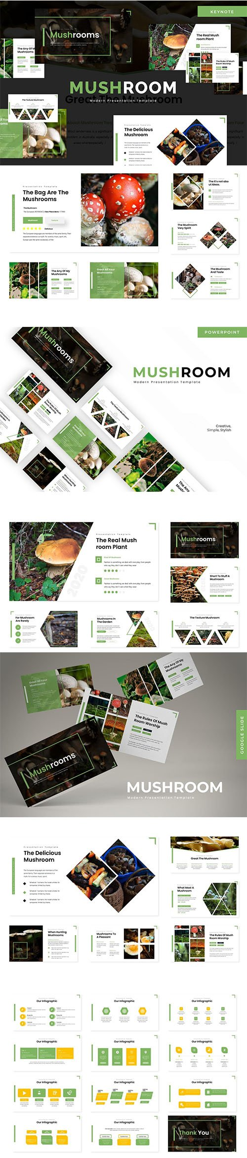 Mushroom - Powerpoint, Keynote Template and Google Slide Template
