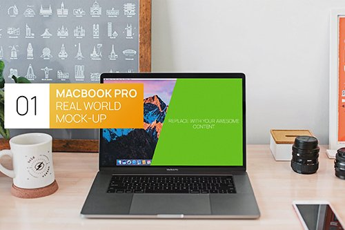 New MacBook Pro Touchbar Real World PSD Mock-Up