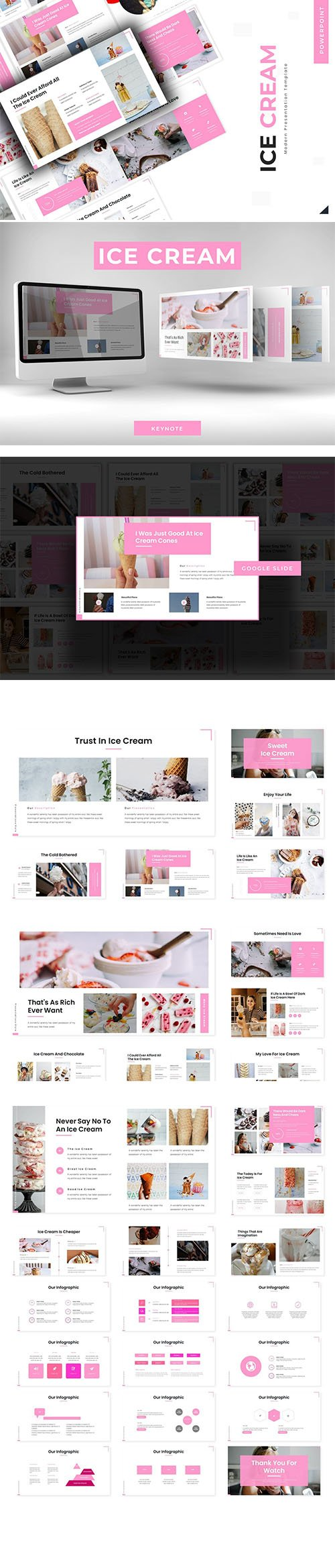 Sweet Ice Cream - Powerpoint, Keynote Template and Google Slide Template