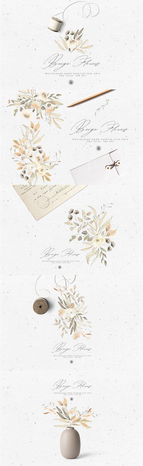 Beige Flowers PNG