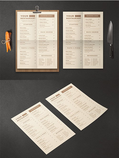Vintage Food PSD and AI Menu
