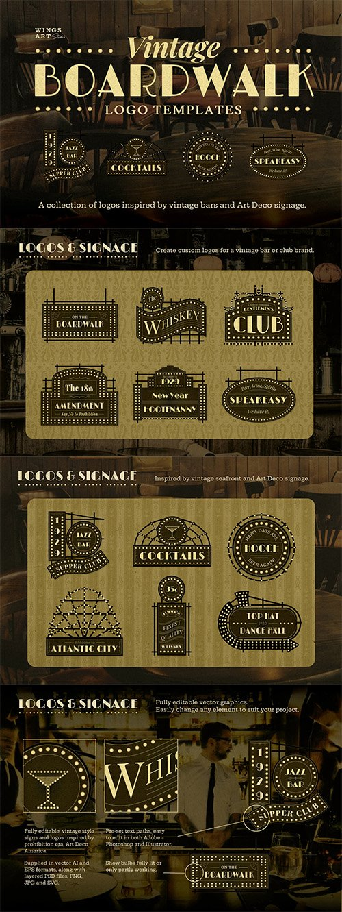Vintage Art Deco Boardwalk Logos
