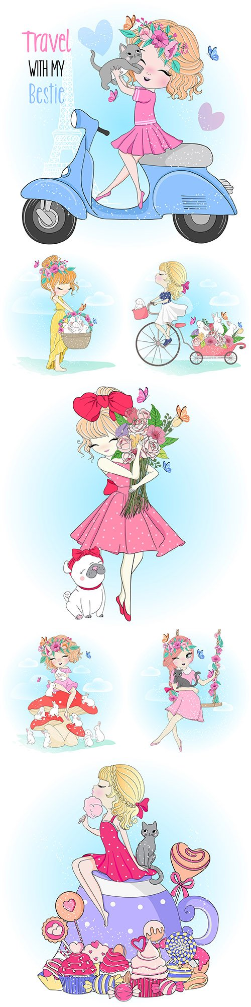 Cute girl with flowers and animals painted illustration