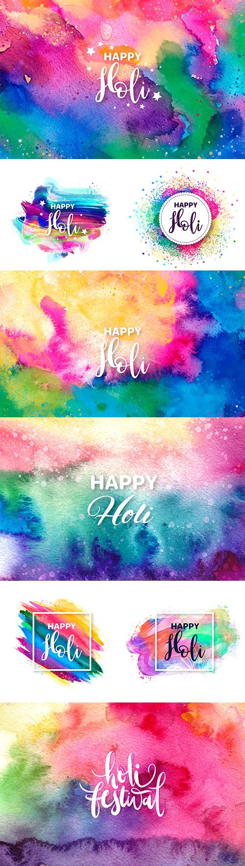 Happy Holi festival traditional watercolor illustration