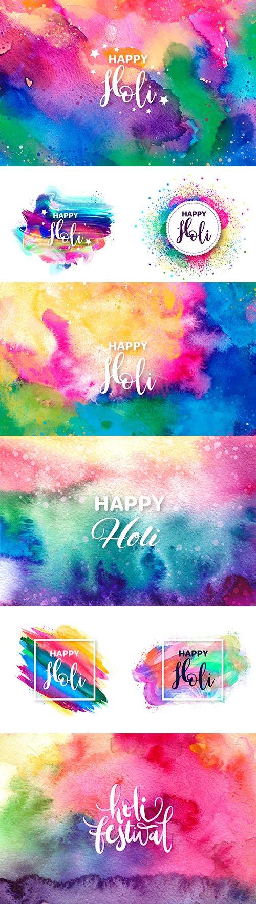 Happy Holi festival traditional watercolor illustration