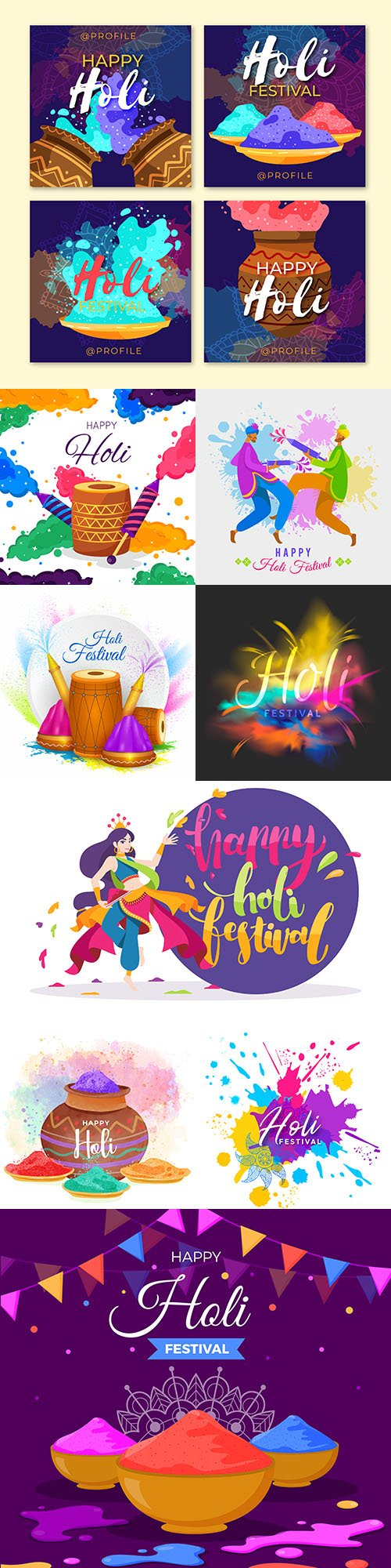 Happy holi traditional festival colorful illustrations