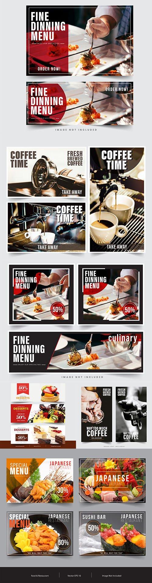 Banner restaurant social networks design template
