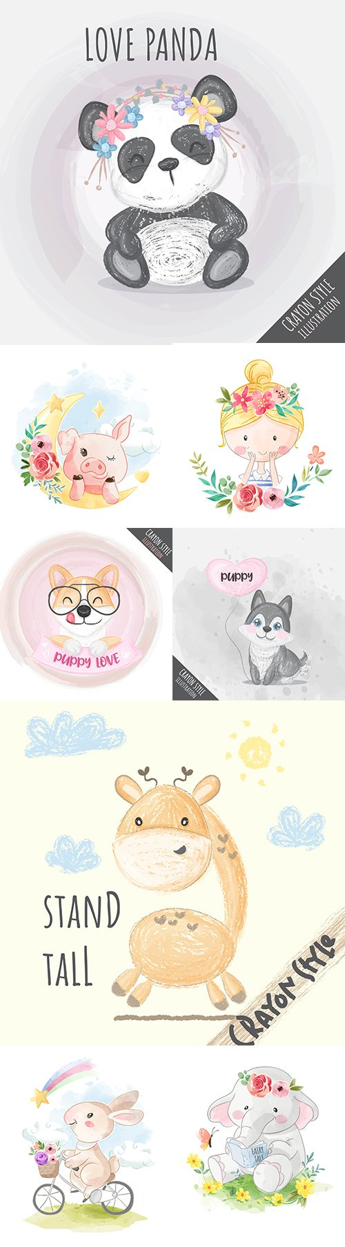 Nice vector illustrations animals and girls with pencil