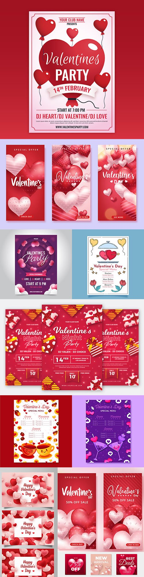 Happy Valentine's Day romantic decorative illustrations 38
