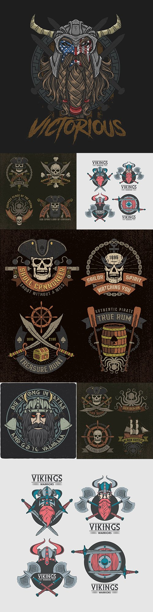 Viking and skull pirate with weapon vintage emblem