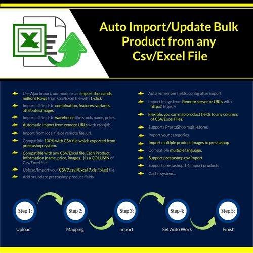Import/Update Bulk Product from any Csv/Excel File Pro v1.0.70 - PrestaShop Module
