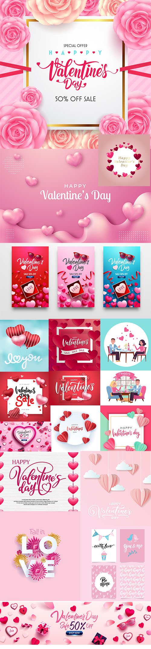 Set of Romantic Valentines Day Illustrations Vol 6