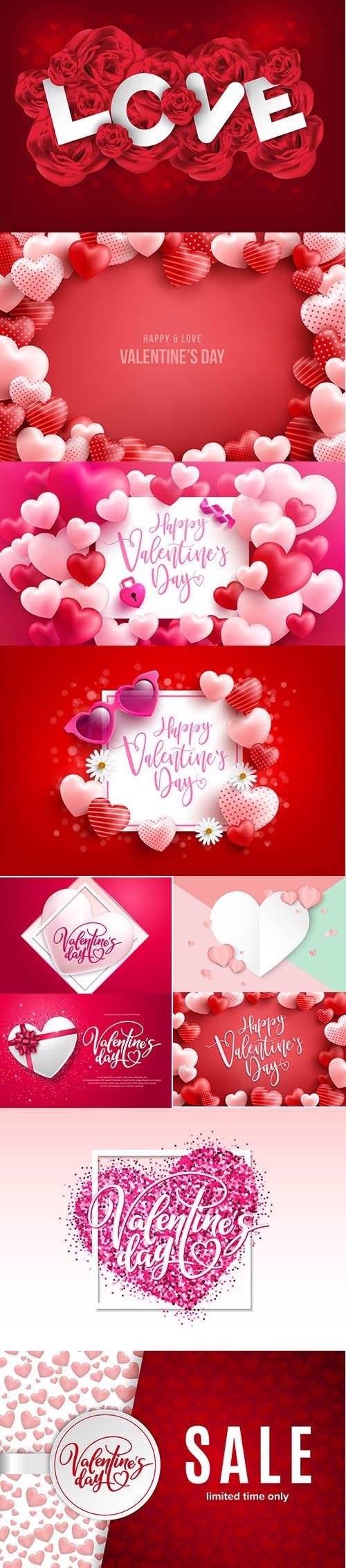 Set of Romantic Valentines Day Illustrations Vol 5