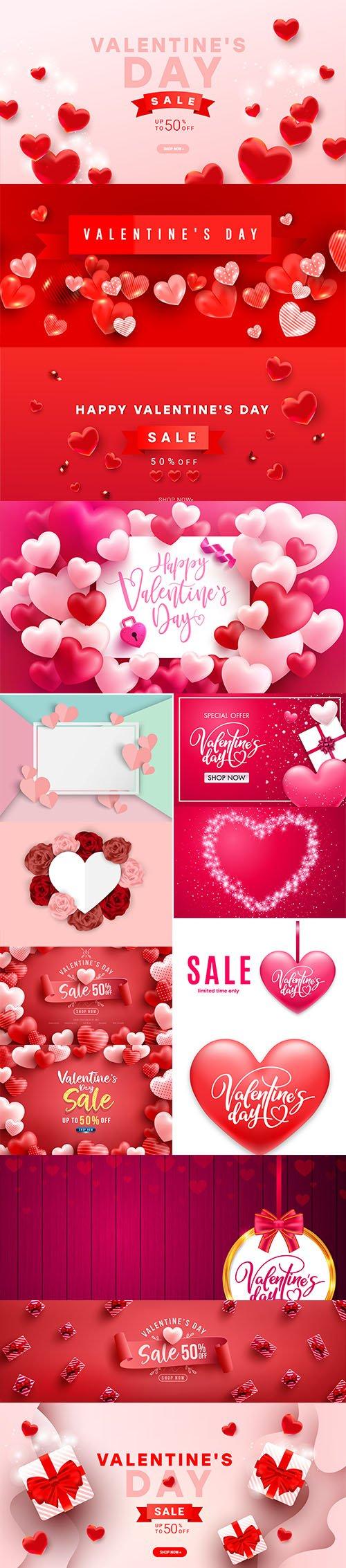 Set of Romantic Valentines Day Illustrations Vol 4