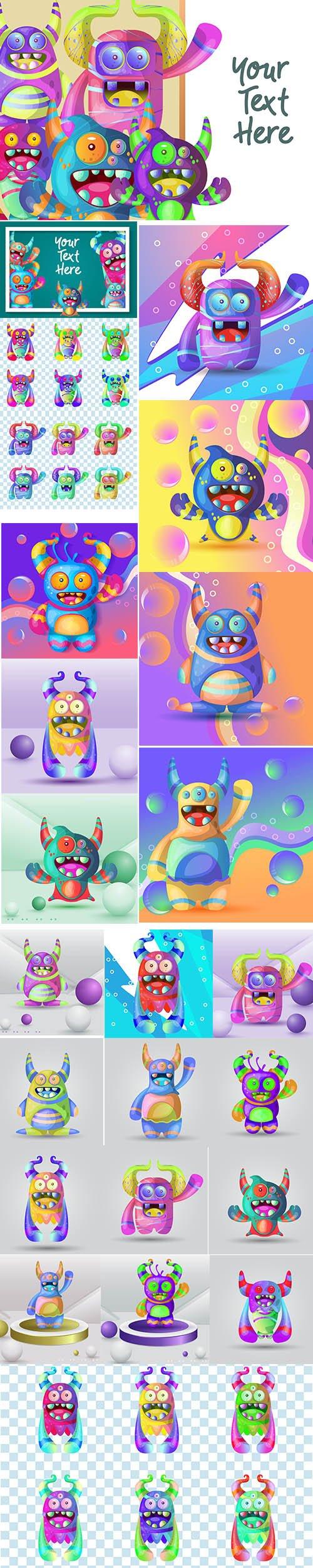 Set of Cute Cartoon Monster Illustrations