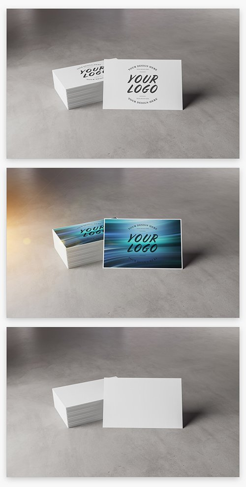 Stack of Business Cards on Concrete Mockup 215993037 PSDT