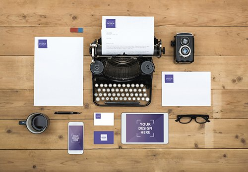 Typewriter with Devices, Stationery and Accessories Mockup 1 187518380 PSDT