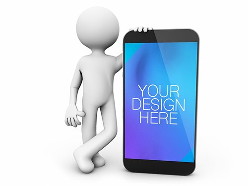 3D Character Leaning on Smartphone Mockup 196696382 PSDT