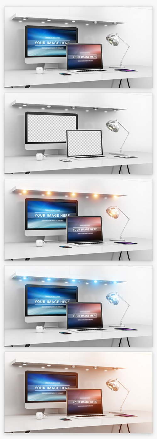 Desktop and Various Devices Mockup 215993221 PSDT
