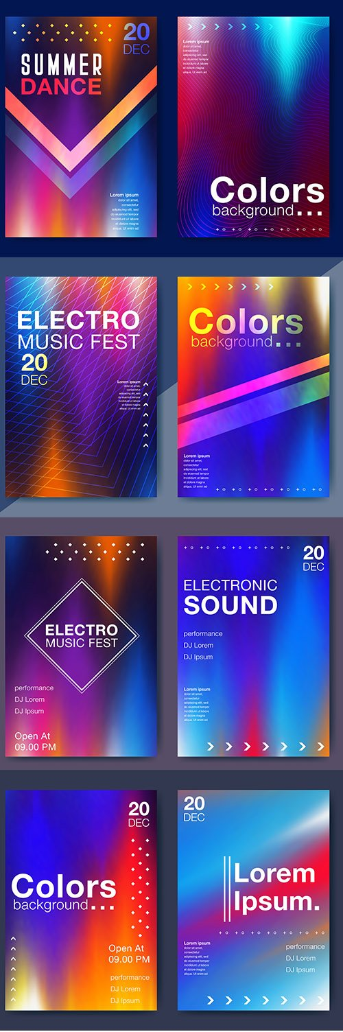 Electronic Music Fest Electro Summer Backgrounds Vector Set