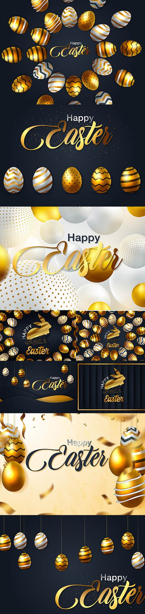 Happy Easter Luxury Backgrounds Template Vector Set
