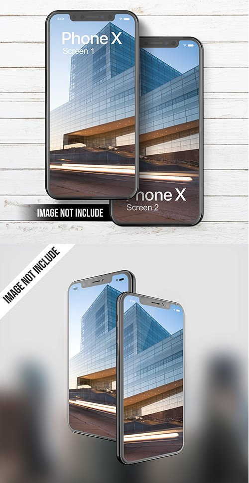 Phone X PSD Mockup Dual Screen Set