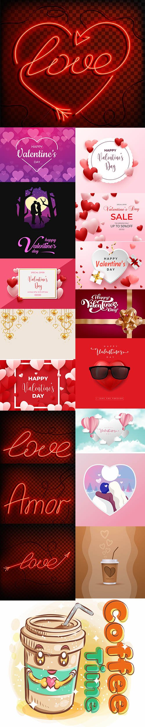 Set of Romantic Valentines Day Illustrations Vol 8