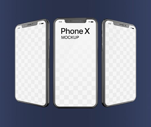 Phone X PSD Mockup Triple Screen