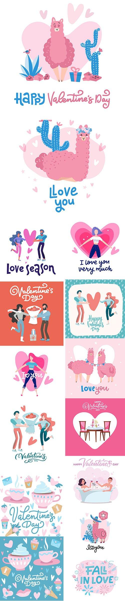 Set of Romantic Valentines Day Illustrations Vol 10