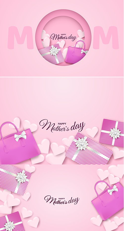 Backgrounds - Happy Mothers Day Design with Gift Box