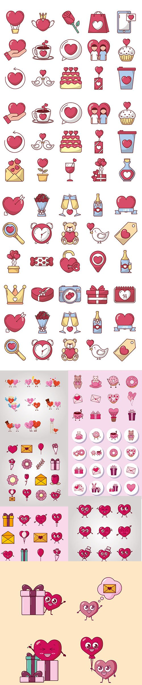 Bundle of Valentines Day Vector Icons