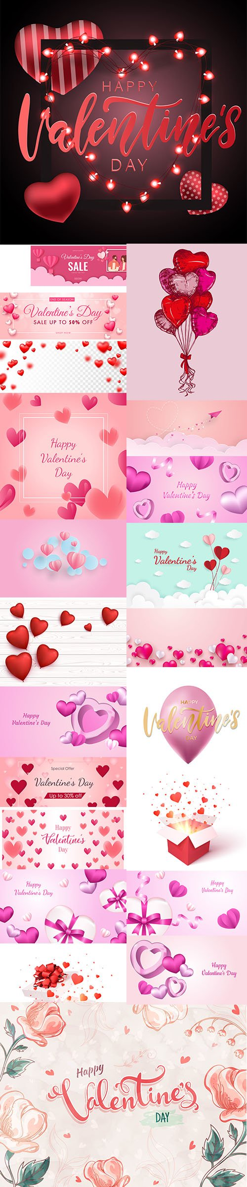 Set of Romantic Valentines Day Illustrations Vol 11