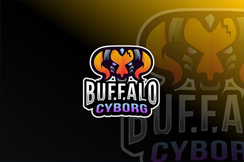 Buffalo Cyborg Esport Logo Template