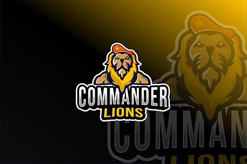 Commander Lions Esport Logo Template